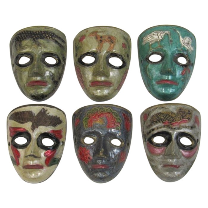 Brass Animal Masks (set of 6)