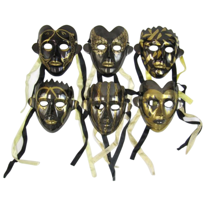 Brass Masks Black & Gold (set of 6)