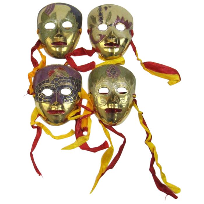 Solid Brass Enamel Masks For Wall Hanging (Set of 4)