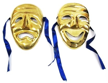 Brass Drama Laughing & Crying Masks For Home Decor