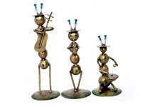 Handmade Iron Painted Ant Musician Home Decoration Statue