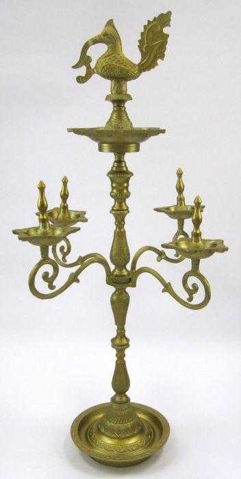Antique Aluminum Temple Oil Lamp
