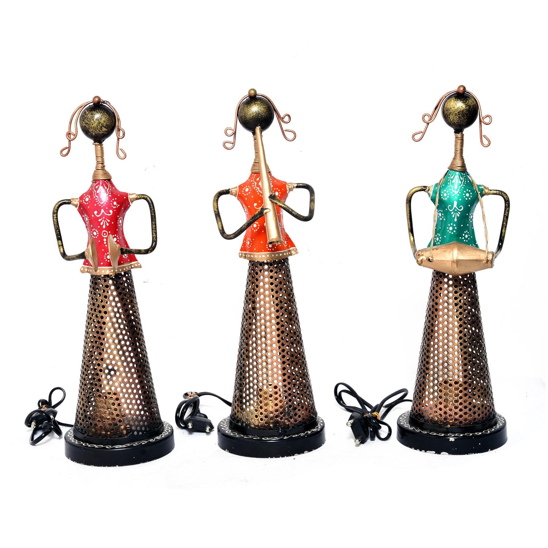 Home Decorative Iron Painted Lady Lamp Tea Light Statue