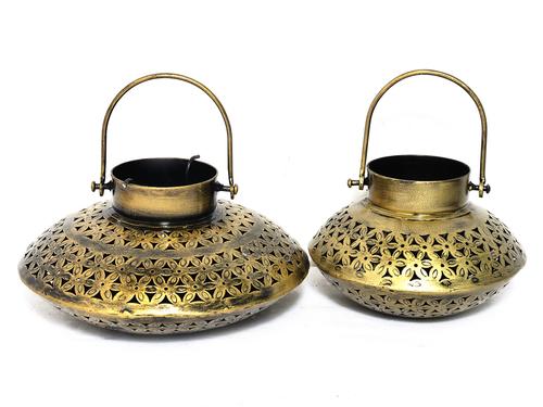 Home Decor Iron Painted Handmade Tea Light Pot Set