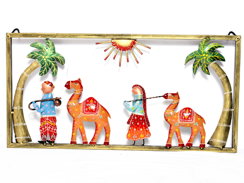 Iron Painted Village Person With Camel Home Decor Wall Hanging