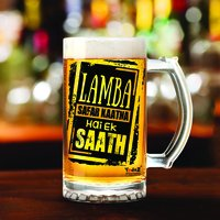 Lamba Safar | 600ml - Yedaz Matte Finish Glass Bollywood Beer Mug