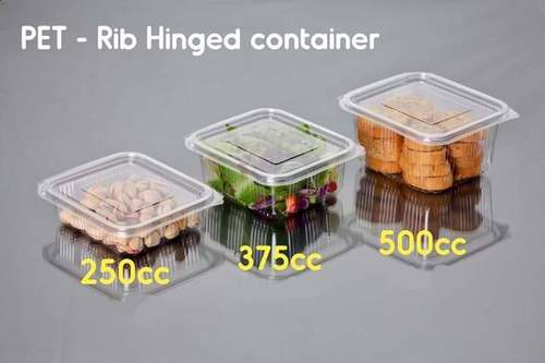 PET Rib Hinged Container