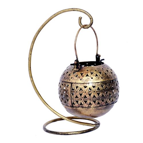 Iron Painted Decor Craft Tea Light Round Pot With Stand