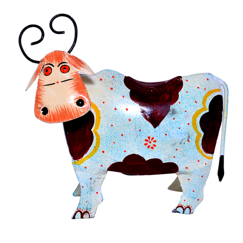 Iron Painted Cow Design Home Decoration Money Bank Holder
