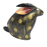 Home Decoration Iron Painted Rabbit Design Money Bank Box Holder