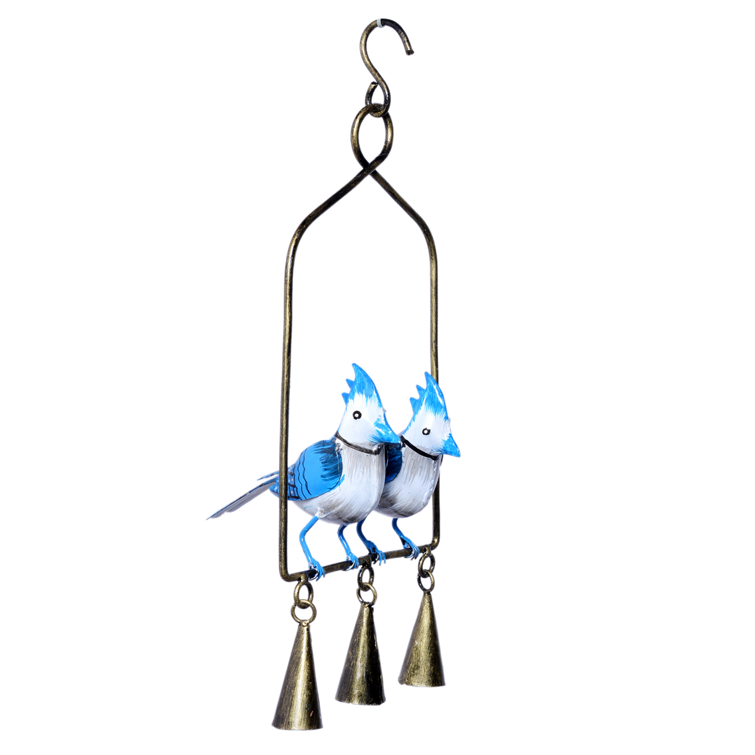 Decorative Iron Painted Hanging Bird With Bells