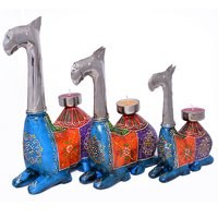 Home Decorative Iron With Wooden Painted Setting Camel Tea Light Set