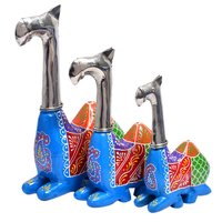 Home Decorative Iron With Wooden Painted Camel Set