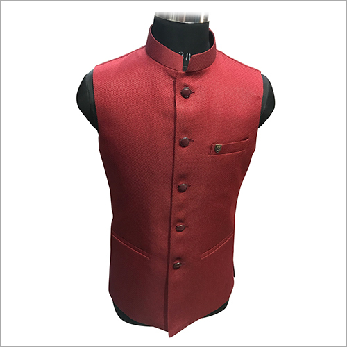 Red Plain Nehru Jacket