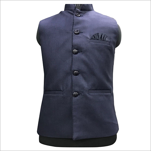 Dark Blue Plain Nehru Jacket