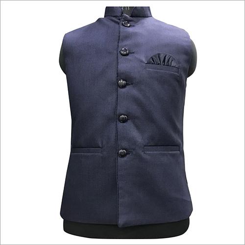 Dark Blue Plain Nehru Jacket