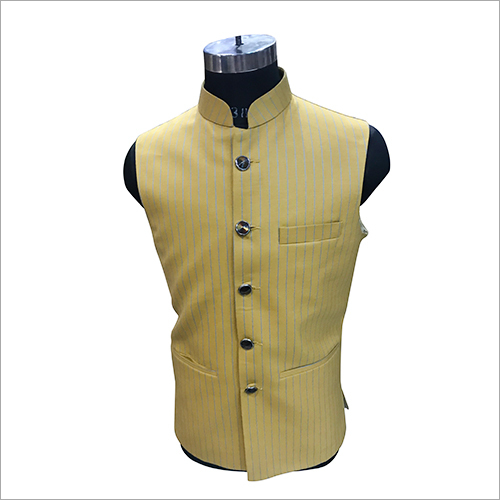 Party Wear Striped Nehru Jacket