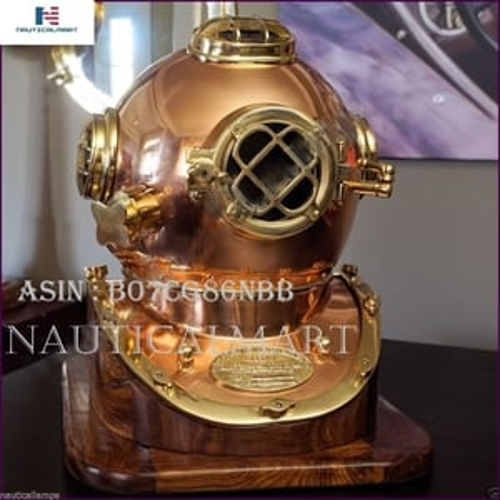 NAUTICALMART Antique Brass Scuba Diving Divers Helmet US Navy Mark V Solid Brass 18'' w/Base