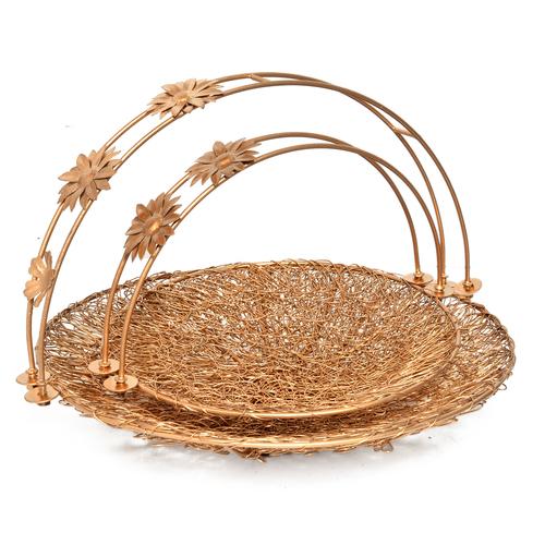 Iron Wire Mesh Round Shape Designer Dry Fruit Trays Basket Set