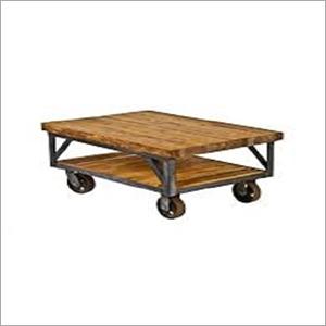 Wooden Two Shelf Wheel Table