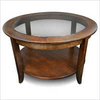 Glass Top Round Storage Table