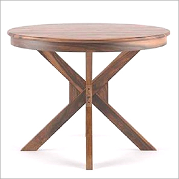 Round Walnut Finish Table