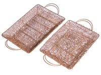 Home Decorative Rectangle Shape Gold Wire Mesh Dry Fruit Trays Basket Set