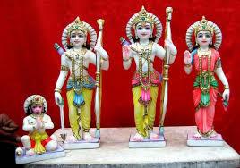 Marble Ram Darbar Statue With Sitting Hanuman