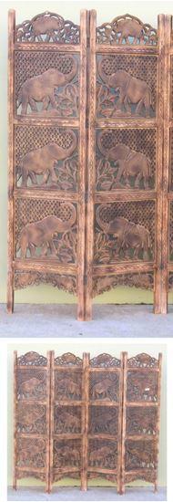 Elephant Carved Wooden Screen Room Divider