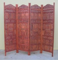 Carved Wooden 4-Panel Screen