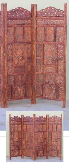Carved Wooden Screen Room Divider