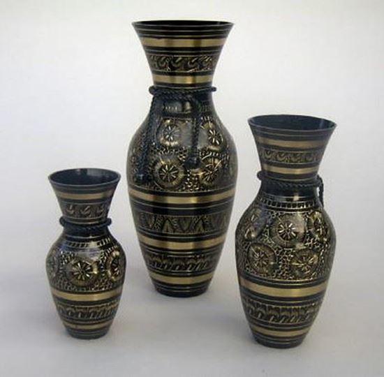 Rope Vase Set of 3 Black Etched