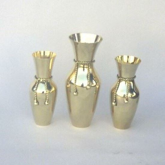 Solid Brass Vase Set with Tie Rope