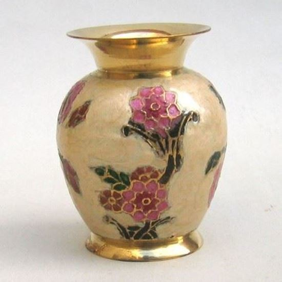 Solid Brass Vase Enamel