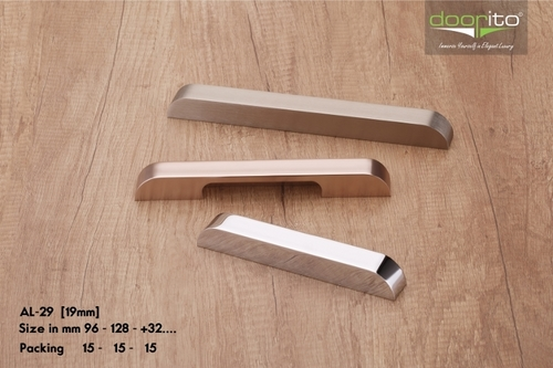 Brushed aluminum cabinet handles