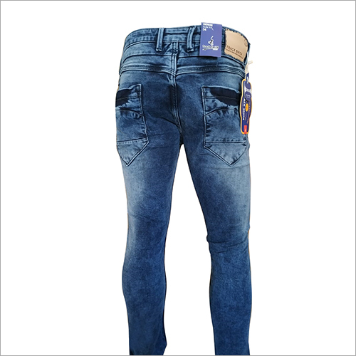 Mens Blue Dobby Fabric Jeans