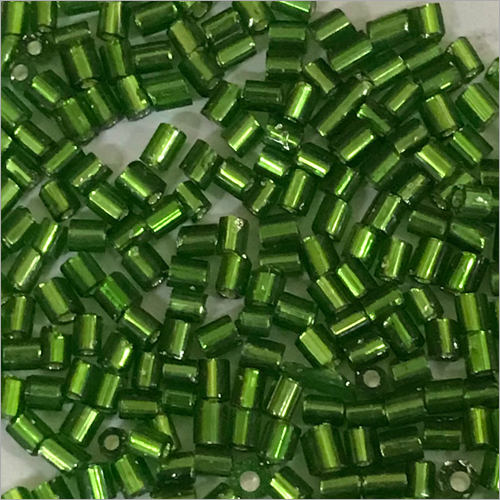 Green Silver Line Cut Beads