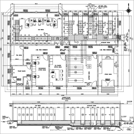 Equipment and Cable Trench layout Drawing of Indoor Substation