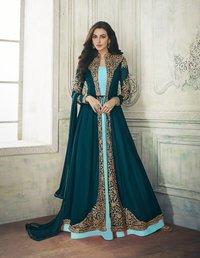 Designer Anarkali Suit with Embroidered Shrug