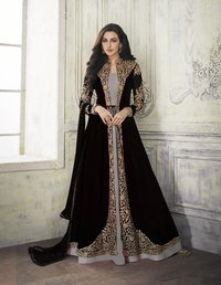 Designer Anarkali Suit with Embroidered Shrug