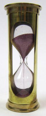 Brass 3-minute Hourglass Maroon Sand