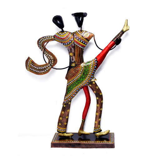 Home Decorative Iron Painted Dancing Couple Sculpture Metal Craft Huge Statue