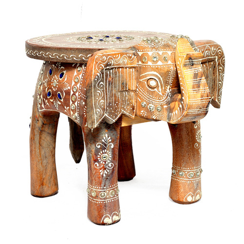 Home Decorative Wooden Elephant Handcrafted White Stool