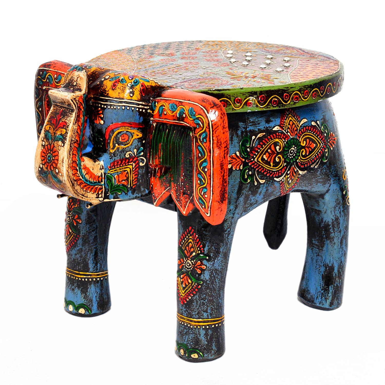 Home Furnish Wooden Elephant Decorative Stool