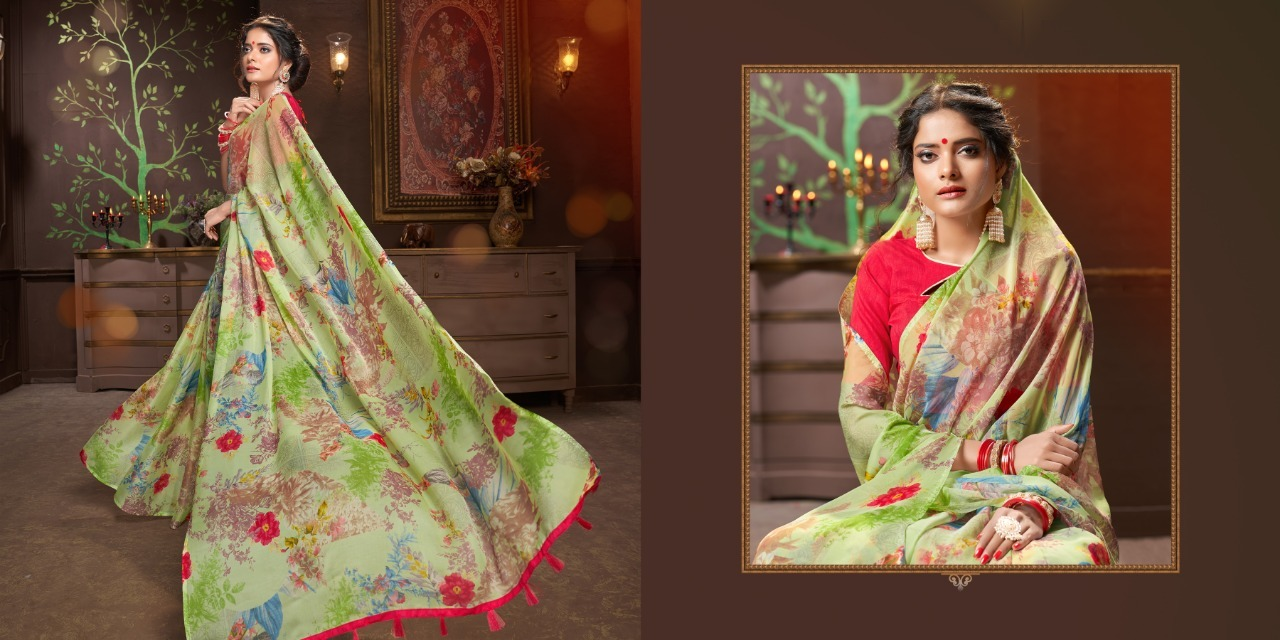 Designer Printed saree With Light Colour