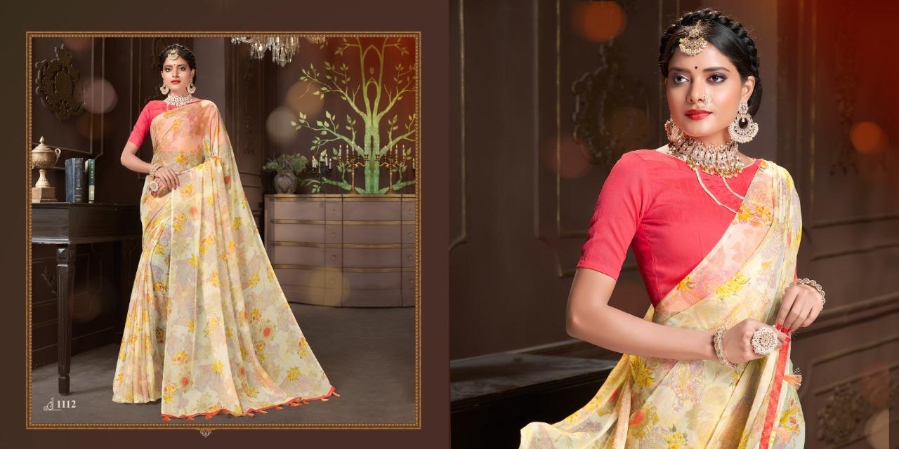Designer Printed saree With Light Colour