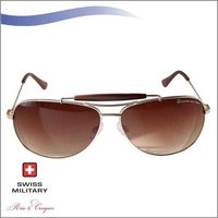 SWISS MILITARY MATT GOLD FRAME WITH BROWN GRADIENT LENS SUNGLASS