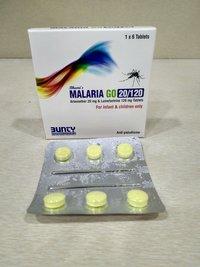 Artemether And Lumefantrine 20mg & 120mg Tablets