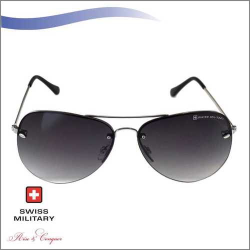 SWISS MILITARY Stainless Steel Frame with Smoke Gradient Lens SUNGLASS