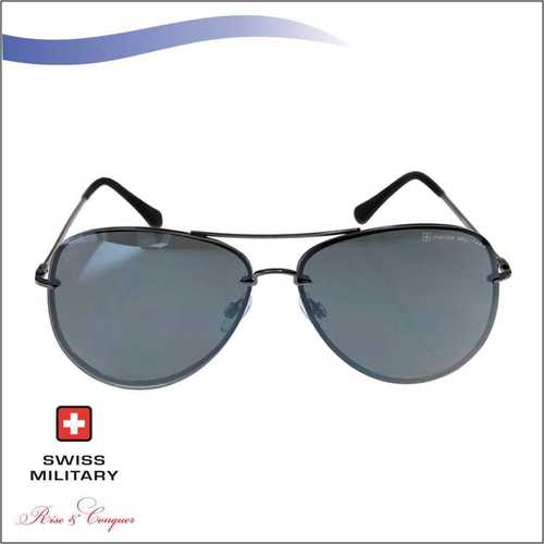 SWISS MILITARY Gun Metal Frame with Smoke Lens with mirror catating lens SUNGLASS